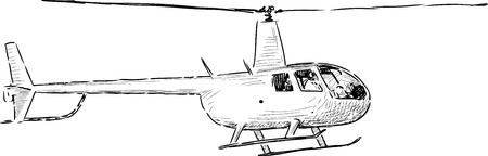 A Vector sketch of a light helicopter. Illustration