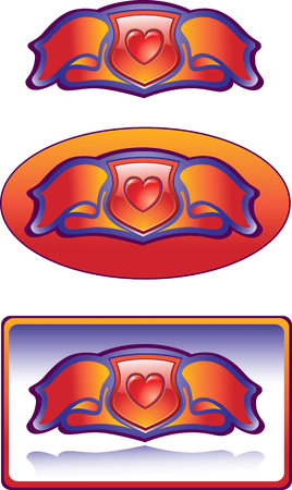 The vector image of decorative elements with a band and heart for an adornment.