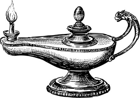 Una imagen vectorial de una vieja lámpara de aceite. Vectores