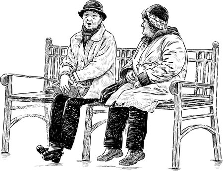 Vector drawing of the old women on the park bench. Stock Illustratie