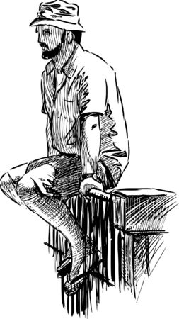 Vector sketch of a casual sitting man. Illustration