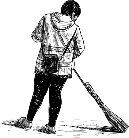A Vector drawing of a street sweeper. Illustration