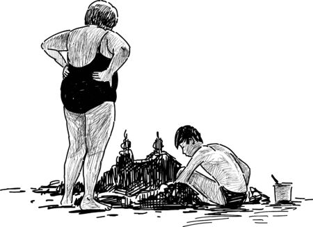 A Vector image of an elderly woman with her grandson on the beach.