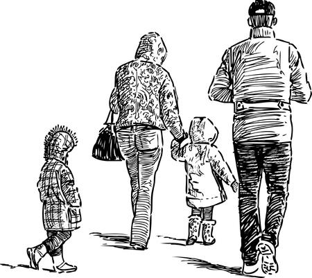 A Vector sketch of a walking family.