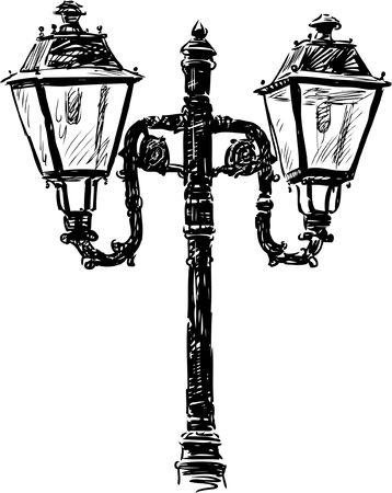Vector drawing of an old street lamp.