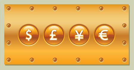 bolt: The vector illustration of the  icons with currency symbols for web designers.