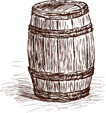winemaking: Vector sketch of a wine barrel.