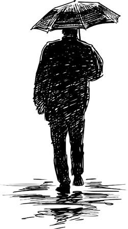 Vector image of a person under umbrella.