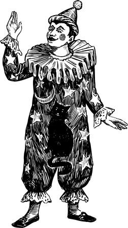 Vector tekening van een vintage clown.