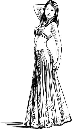 Vector sketch of a dancicng girl.