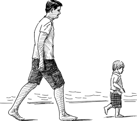 tread: Vector sketch of a man with her kid walking on the seashore.