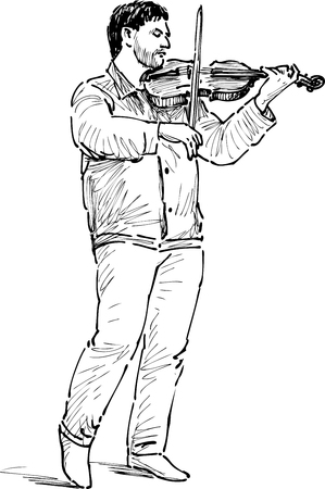 busker: Vector drawing of a busker.