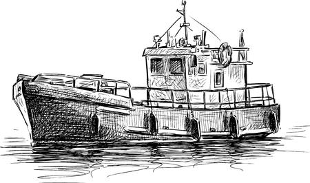 Vector sketch of a motorboat. Иллюстрация