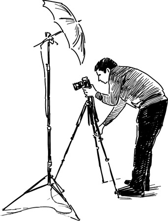 Vector sketch of a professional photograph at work.