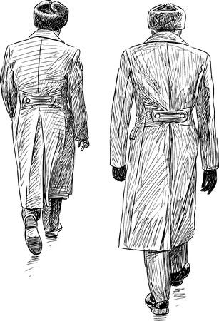 Vector schets van de militaire mannen weglopen.