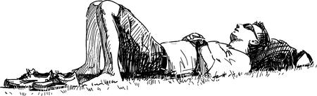Croquis de vecteur d'un gars qui dort sur la pelouse dans le parc de la ville. Vecteurs