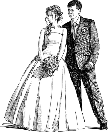 Vector drawing of a happy bride and groom. Illustration