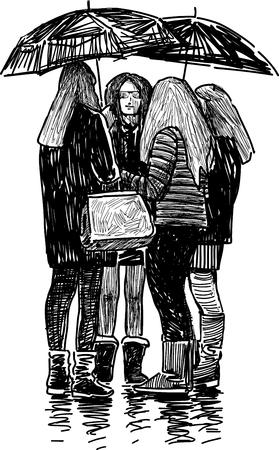 Vector drawing of the schoolgirls under the umbrellas.