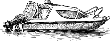 Vector drawing of a pleasure motor boat.