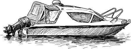 Vector tekening van een plezier motorboot.
