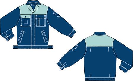 ベクトル ジーンズ制服ジャケットのモデルの描画します。