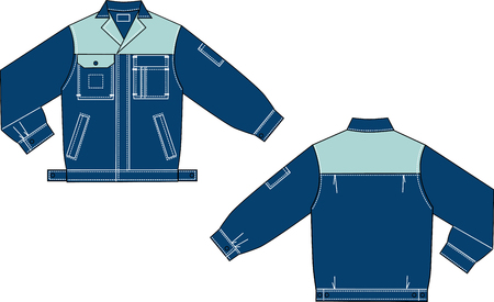 Vector drawing of model of a jeans uniform jacket. Ilustrace