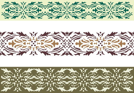 Vector drawing of a fragments  of a decorative borders. Ilustração