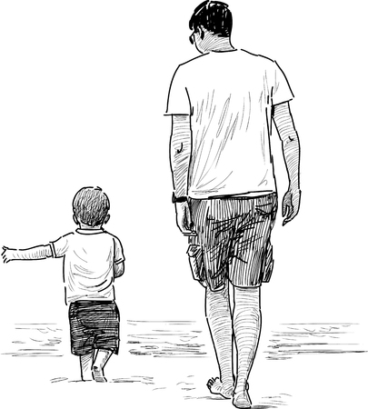 Vector sketch of a man with his little son on the seashore.