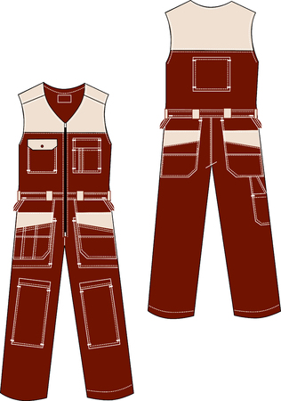 Vector drawing of model of working overalls with a various patchpocket.