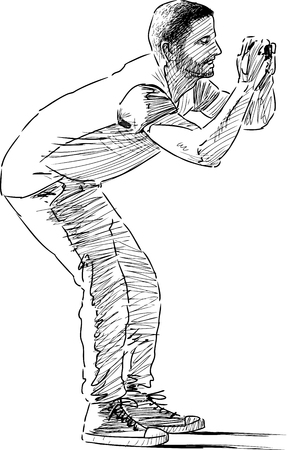Vector sketch of a man takes picture.