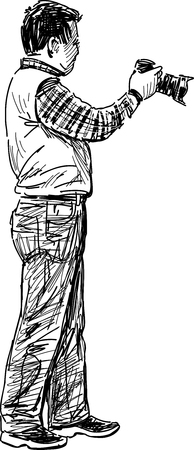 photographing: Vector drawing of a man with a camera.