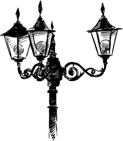 Vector sketch of a vintage street light.