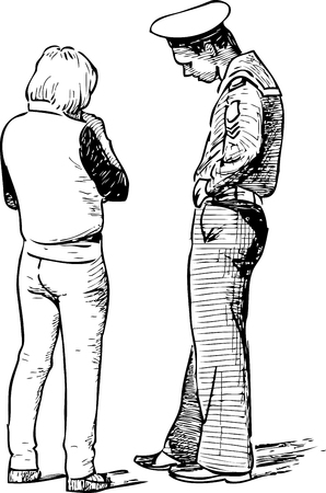 Vector drawing of the talking couple. Illustration
