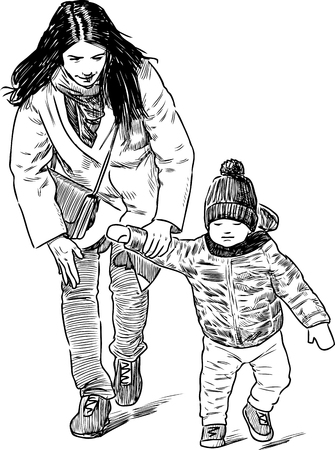 Vector drawing of an young woman walks with her kid.