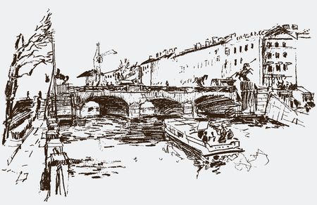 dinghy: Vector image of the cityscape of the bridge through the river.