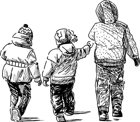 Vector drawing of the walking kids.