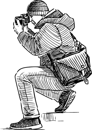 Vector drawing of a photographer shooting.