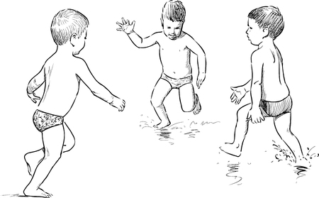 Vector sketches of the boys playing on the beach. Illustration