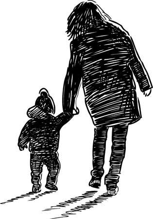 Vector sketch of a mother with her kid on a walk. Illustration
