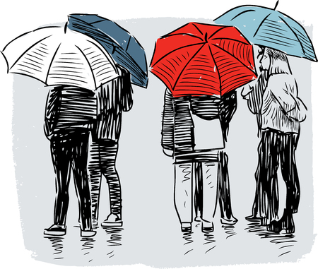 Vector image of the townspeople under umbrellas.