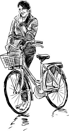 Vector sketch of a woman with a bike. Illustration
