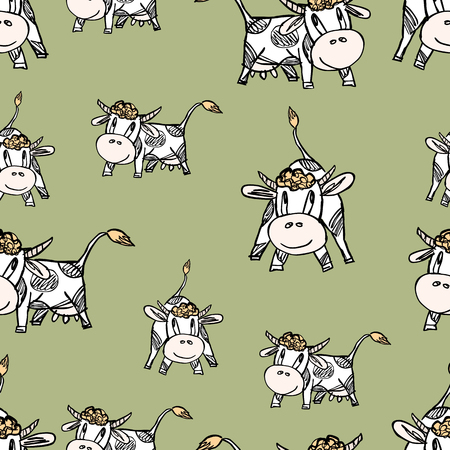 grazing: Vector pattern of the funny cartoon cows.