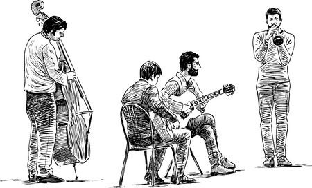 Vector drawing of the quartet of the street musicians. Illustration