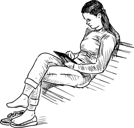 Vector sketch of a girl with a computer tablet on a park bench.