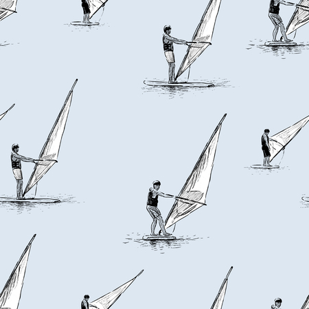 windsurfers: Vector pattern of the windsurfers in the sea.