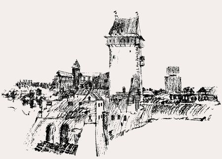 Vector image of the old fortress with the watch tower.