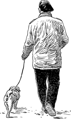 backview: Vector drawing of a person wth his pet on a stroll.