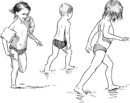 crouching: Vector sketches of the kids on the beach.