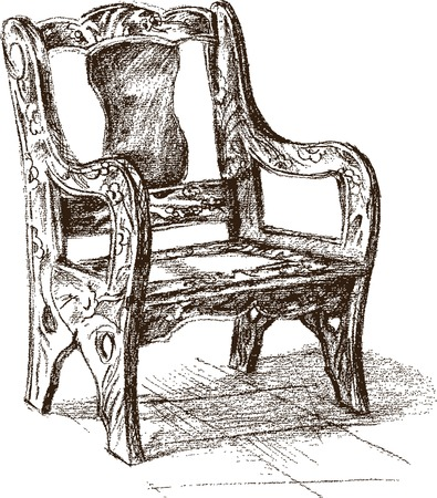 2fef799a02a Vector image of an ancient armchair. Illustration
