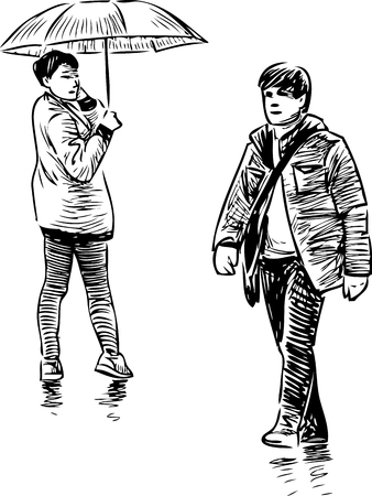 passerby: Vector sketch of a casual townspeople. Illustration